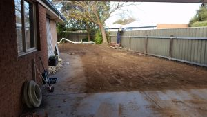 Back yard clean up, leveling and rubbish removal by Albury Wodonga Plumbers, 24 hour plumbing service.